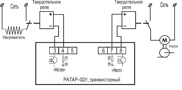 Подключение терморегулятора с выходом оптотранзистор РАТАР-02У с выходом Т
